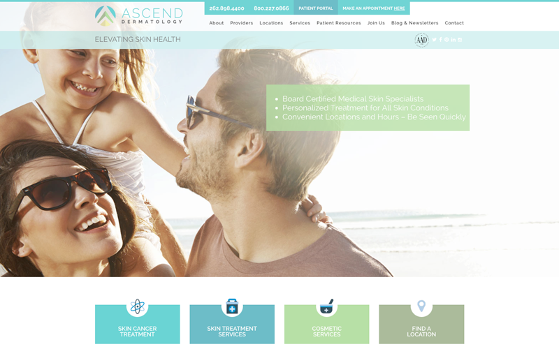 Amidst a full re-branding for Ascend Dermatology, we also reworked their online presence.