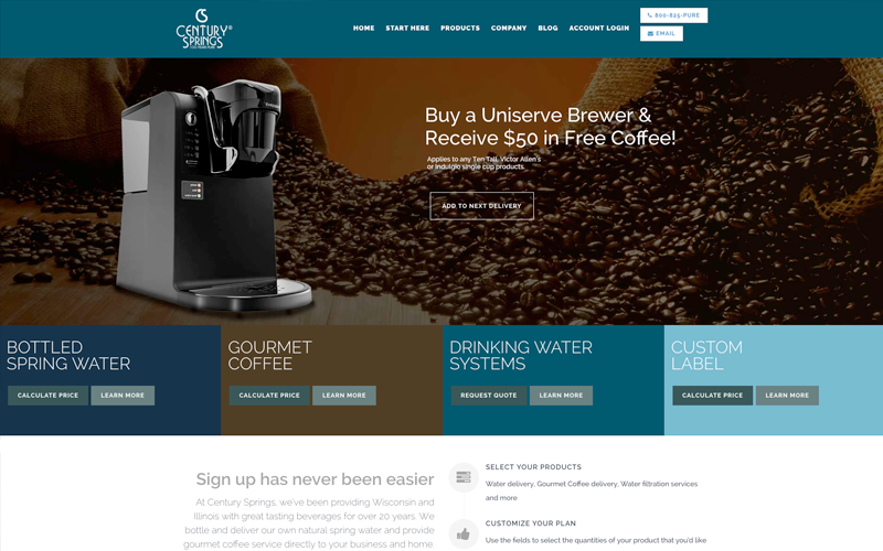 century springs delafield website design, delafield website development client