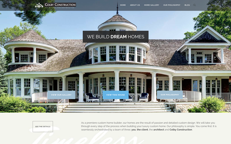 We utilized the latest design and technology for this website redesign for Colby Construction, a Delafield custom home builder.