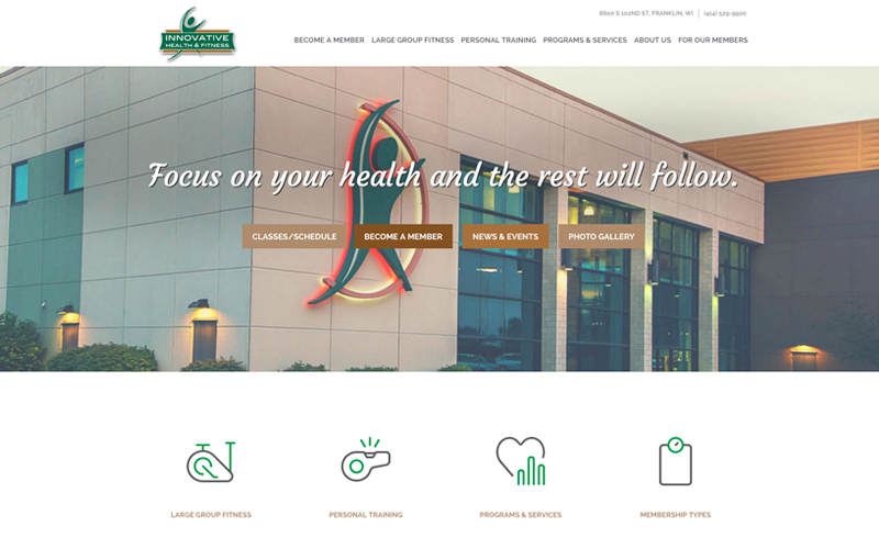 We worked with Innovative Health and Fitness to redesign their website, updated but catered to all gym users.