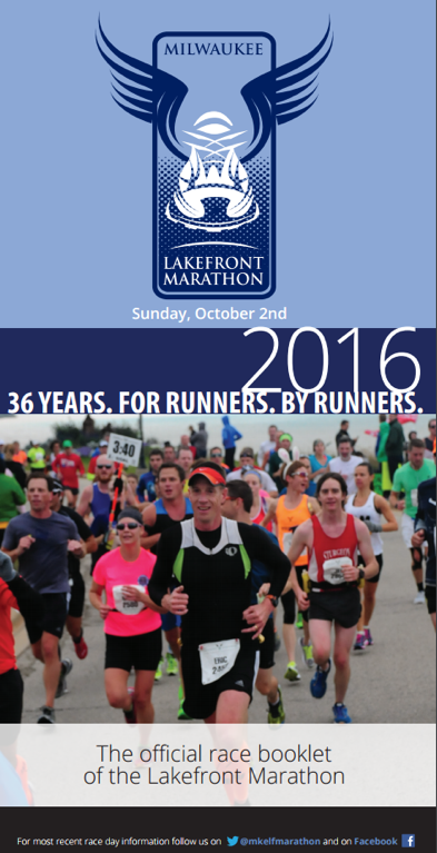 lake front marathon's front page of their marathon booklet, showing REdMoxy's